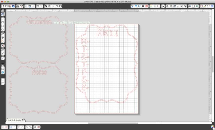 First I laid out my design to my liking in the Studio software.