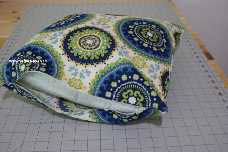 Once you have your pillow form situated in the case, all that's left is to zip it up!