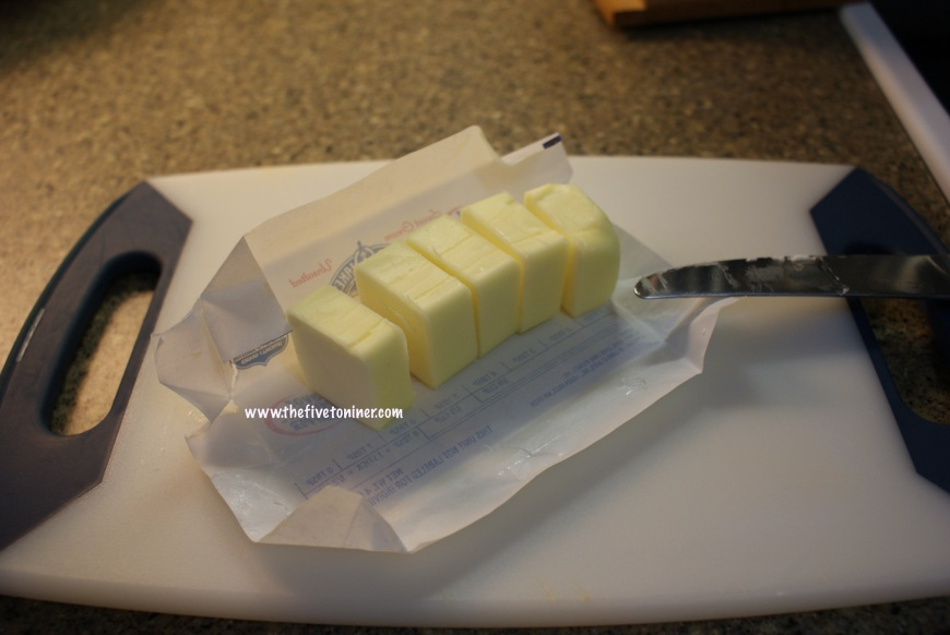 Cut up five table spoons of butter.