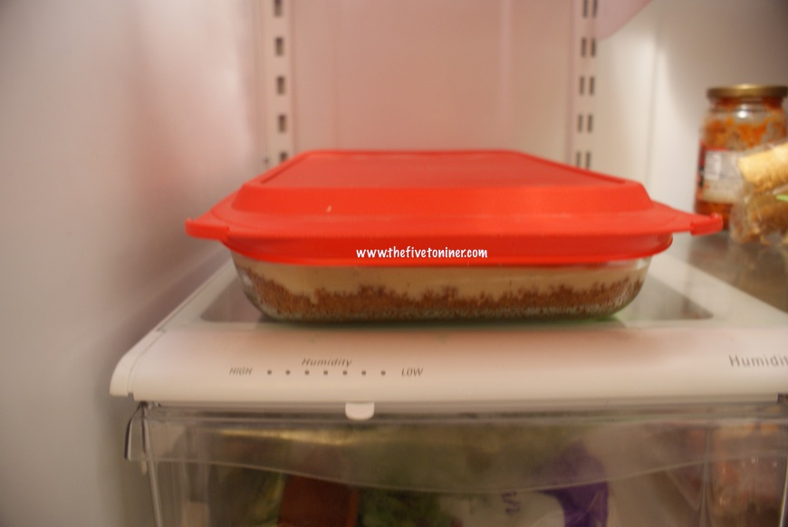 Allow it to chill in the fridge for at least four hours or preferably over night before serving.