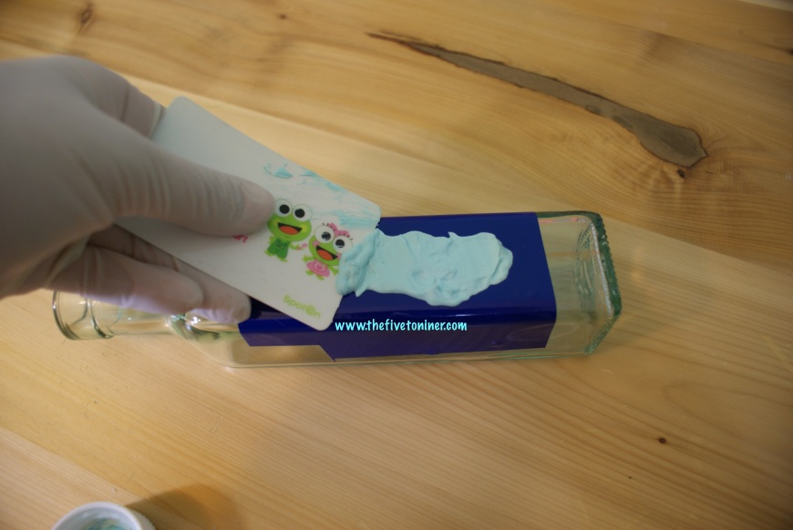 If using the Silhouette etching cream, you can reuse excess etching cream, so gently scrape it off the item and put it back in the bottle.
