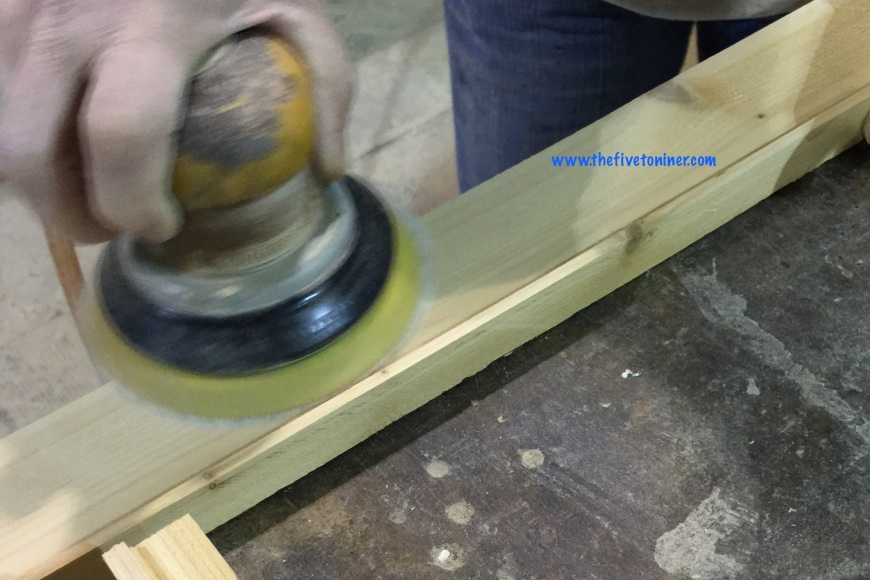 Just before nailing, we sanded it down to smooth out the surface from the rough saw cuts.